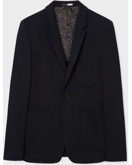 Men's Slim-fit Navy Textured-cotton Buggy-lined Blazer