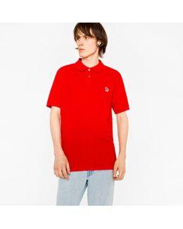 Men's Red Organic-cotton Zebra Logo Polo Shirt