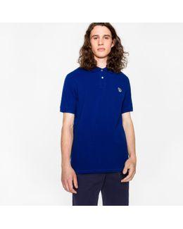 Men's Indigo Organic Cotton-piqué Zebra Logo Polo Shirt