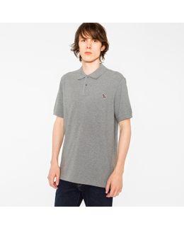 Men's Grey Marl Organic Cotton-piqué Zebra Logo Polo Shirt