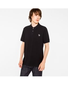 Men's Black Cotton-piqué Zebra Logo Polo Shirt