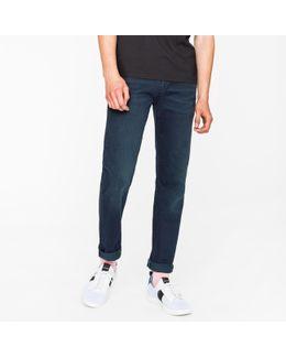 Men's Tapered-fit 11.8oz Over-dyed Wash 'super Soft Cross-hatch' Stretch-denim Jeans