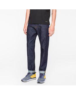 Men's Tapered-fit 11.8oz Indigo-rinse 'super Soft Cross-hatch' Stretch-denim Jeans