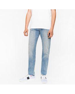 Men's Tapered-fit 9.5oz Light-wash Stretch-denim Jeans