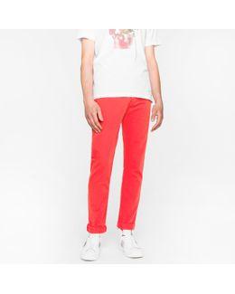 Men's Tapered-fit 9oz Garment-dye Red Denim Jeans