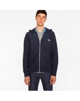 Men's Navy Organic-cotton Zip-front Zebra Logo Hoodie
