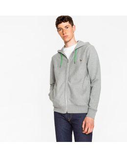 Men's Grey Organic-cotton Zip-front Hoodie