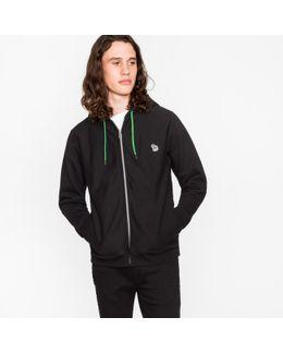 Men's Black Organic-cotton Zip-front Zebra Logo Hoodie