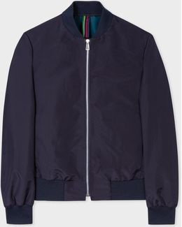 Mens Navy Water-resistant Bomber Jacket