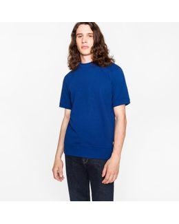 Men's Blue Loopback-cotton Short-sleeve Sweatshirt
