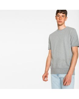 Men's Grey Loopback-cotton Short-sleeve Sweatshirt