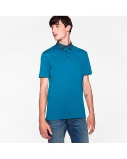 Men's Slim-fit Dark Teal Ps Logo Supima Cotton Polo Shirt With Woven Collar