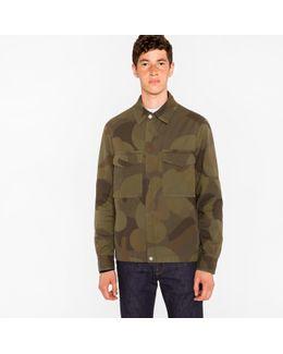 Men's Green 'circle Camouflage' Cotton-twill Shirt Jacket