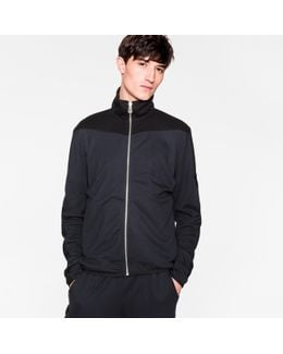 Men's Navy And Black Panelled Track Top