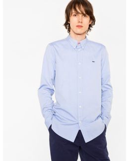 Men's Tailored-fit Sky Blue Cotton Shirt With 'cycle Stripe' Motif