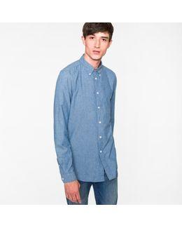 Men's Tailored-fit Cotton-linen Dark Blue Chambray Button-down Shirt