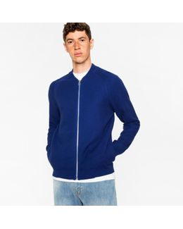 Men's Indigo Cotton Zip-front Cardigan