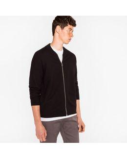 Men's Black Cotton Zip-front Cardigan