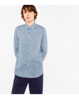Men's Tailored-fit Sky Blue 'overlaid Circles' Print Cotton Shirt