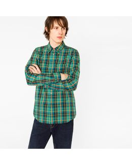 Men's Tailored-fit Green Check Shirt