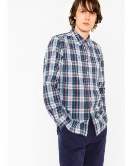 Men's Tailored-fit Blue Check Shirt