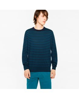 Men's Navy And Petrol Breton-stripe Merino Wool Sweater