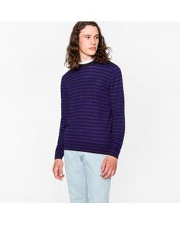 Men's Black And Purple Breton-stripe Merino Wool Sweater