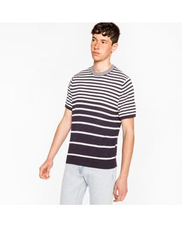 Men's Navy And White Gradient Stripe Short-sleeve Cotton Sweater