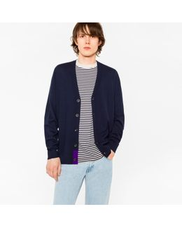 Men's Navy Merino-wool Cardigan