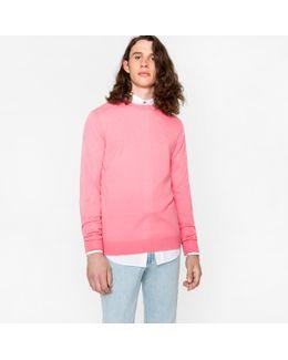 Men's Pink Merino Wool Crew Neck Sweater