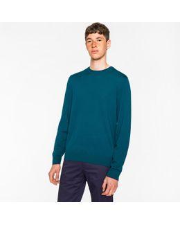 Men's Dark Teal Merino Wool Crew Neck Sweater