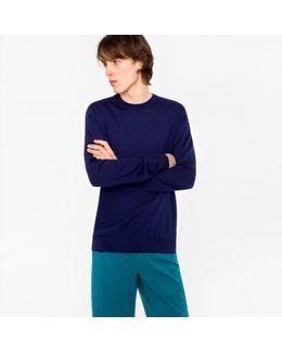 Men's Indigo Merino Wool Crew Neck Sweater