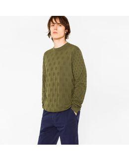 Men's Khaki Knitted Polka Dot Jacquard Cotton Sweater