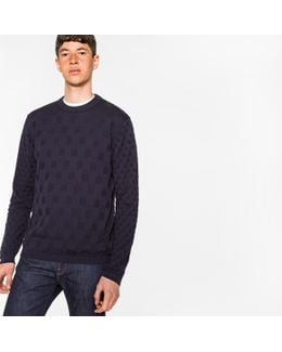 Men's Navy Knitted Polka Dot Jacquard Cotton Sweater