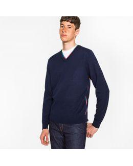 Men's Navy Wool-blend V-neck Sweater With Multi-coloured Stripe Detailing