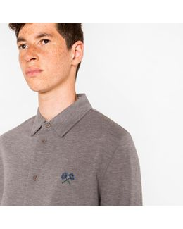 Men's Grey Marl Cotton-piqué Shirt With Embroidered Flower Motif