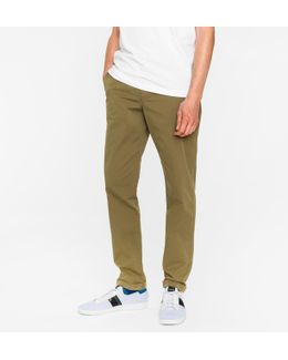Men's Tapered-fit Khaki Garment-dyed Pima-cotton Stretch Chinos