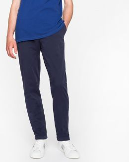Men's Tapered-fit Navy Garment-dyed Pima-cotton Stretch Chinos