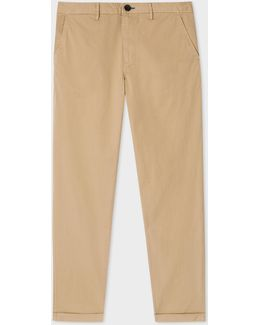 Men's Tapered-fit Sand Garment-dyed Pima-cotton Stretch Chinos