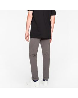 Men's Tapered-fit Grey Garment-dyed Pima-cotton Stretch Chinos