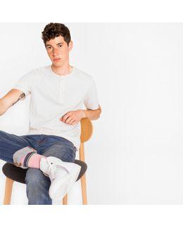 Men's Off-white Jersey Short-sleeve Henley Top