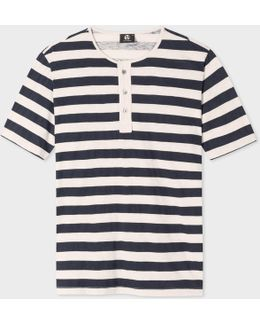 Men's Off-white And Dark Navy Short-sleeve Henley Top
