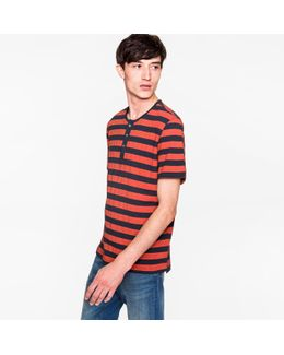 Men's Navy And Red Short-sleeve Henley Top