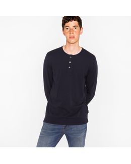 Men's Dark Navy Jersey Henley Top