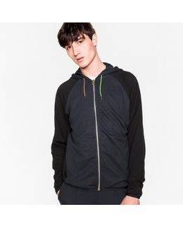 Men's Navy And Black Panelled Hooded Track Top