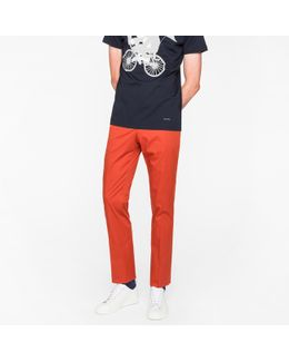 Men's Slim-fit Burnt Red Stretch-cotton Trousers