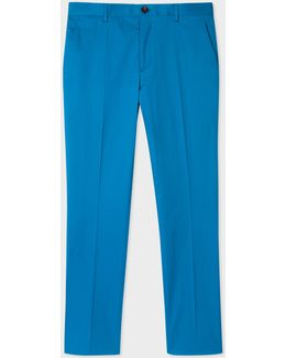 Men's Slim-fit Turquoise Stretch-cotton Trousers