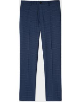 Men's Slim-fit Navy And Slate Blue Check Wool-blend Trousers