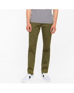 Men's Slim-fit Olive Green Cotton-twill Stretch Chinos
