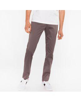Men's Slim-fit Grey Cotton-twill Stretch Chinos
